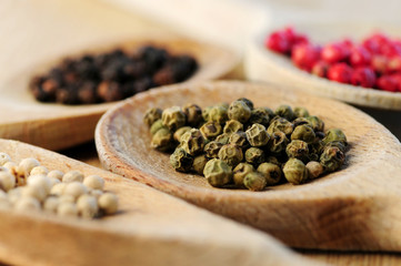 Four kinds of peppercorns in wooden cooking spoons, macro