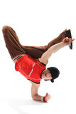 hip-hop style dancer posing on a white background poster