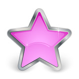 étoile rose avec contour en métal poster