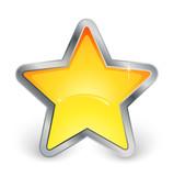 étoile jaune avec contour métal poster