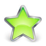 étoile verte avec contour métal poster