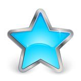étoile bleue avec contour métal poster