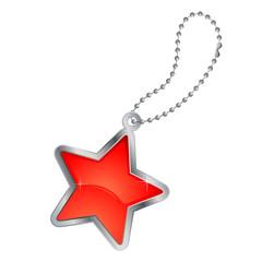 étoile rouge avec chaînette