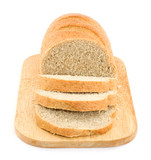 sliced bread on plank studio isolated poster
