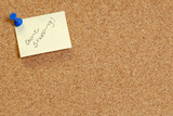 cork board with note saying gone shopping poster