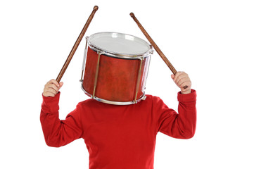 Child with a drum in the head a over white background