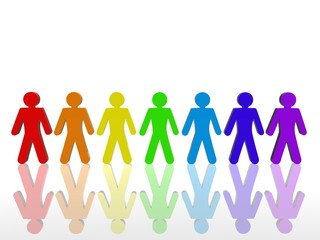 Rainbow people line