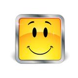 Smiley carré avec contour en métal poster