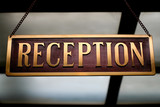 Hotel Reception desk sign.  travel concept