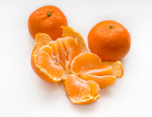 orange mandarines on white background