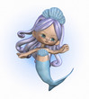 3D render of a cute cartoon mermaid.