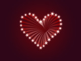 shining heart drawing by white stars with rays of light poster