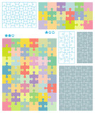 Jigsaw puzzle blank templates and pastel colors patterns poster