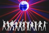 red and blue disco light poster