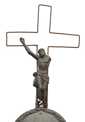 Old, one-armed figure Christ on the cross