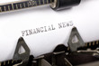 Typewriter close up shot, concept of Financial News