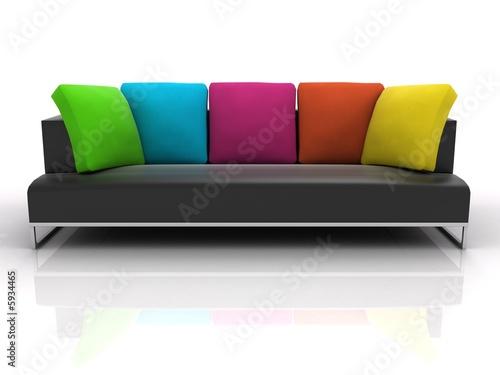 Black sofa with colour pillows on white background