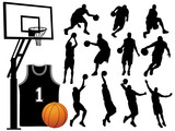 Fototapety Vector Basketball Player Silhouettes
