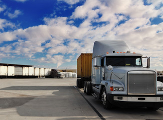 Freight truck transporting consumer products