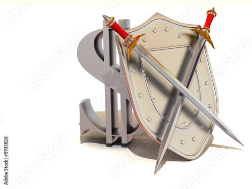 Shield with dollar