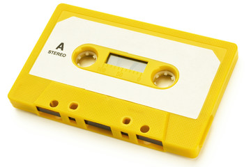 an audio tape on white background