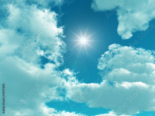 canvas print picture Blue sky with white clouds - digital artwork.