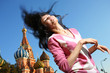 Young woman in euphoria in Moscow, Russia