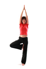 Yoga poses series. Tree Pose. Vrikshasana.