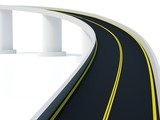 divided highway on white background poster