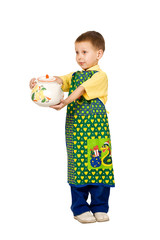 portret of little boy with big teapot and apron