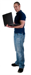 Male  High School College Student With Note Book Computer