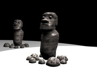Teste dell'isola di Pasqua - Rendering 3D effettuato con 3ds Max