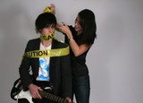 Caution tape on musician poster