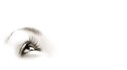 Women's eye - looking forward. Isolated on white.