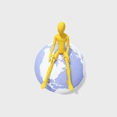 3d man sitting on globe