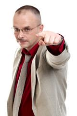 Businessman makes index gesture