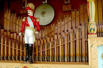 Close up detail of a vintage fairground steam organ