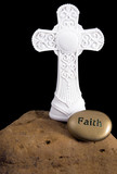 Cross on Rock with Faith Stone poster