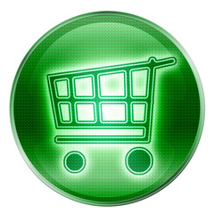 shopping cart button green, isolated on white background.