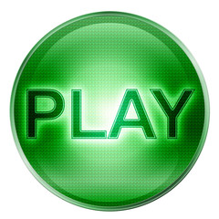 Play icon green, isolated on white background.