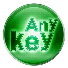 Any Key icon green, isolated on white background.
