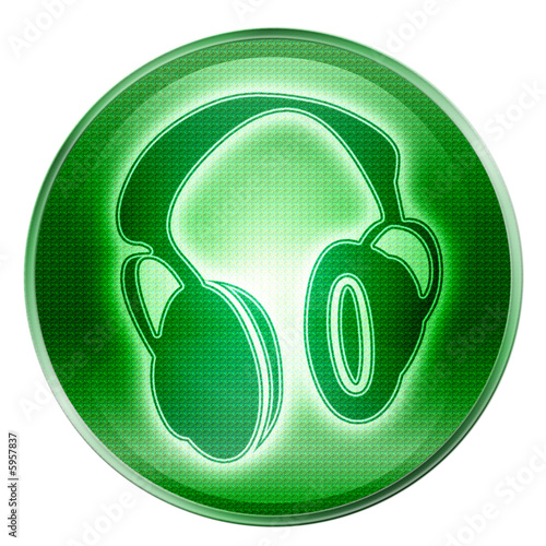 headphones icon green, isolated on white background