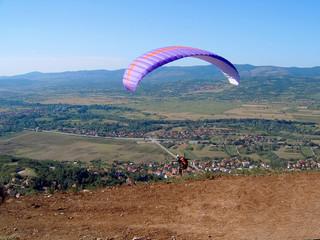 Paraglider airborne