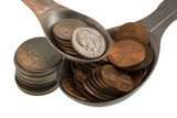 Wealth recipe ingredients - pennies, dimes,  quarters, isolated  poster