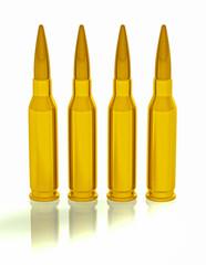 3d concept illustration of 4 bullets