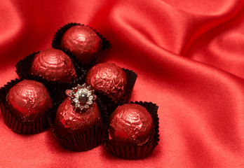 Valentines chocolate truffles with an expensive ring