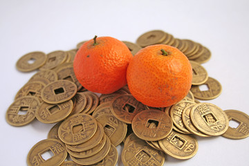 Popular chinese symbols of wealth: mandarins and coins