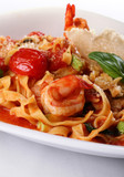 Italian food pasta with tomato and prawn