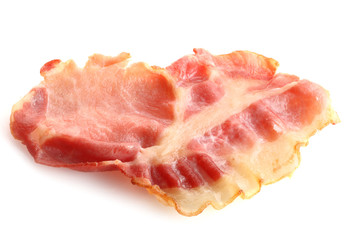 fried slice of bacon, on white background