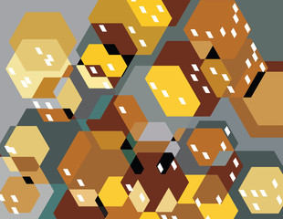 abstract illustration of city buildings / small town